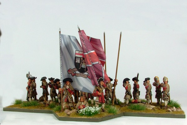 B001 Firing line with pike and grenadiers in low mitre