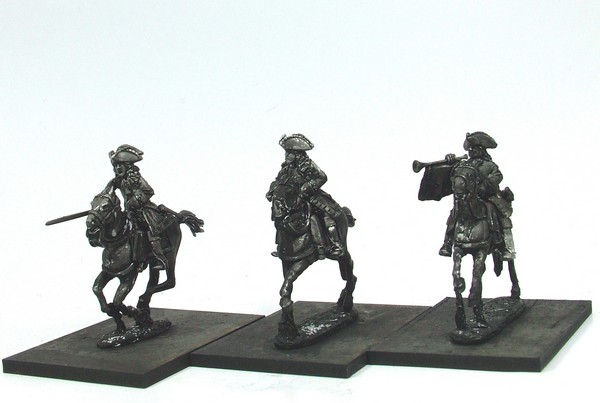 WLOA52b Cuirassier Command, cuirass over coat,tricorne; galloping horses