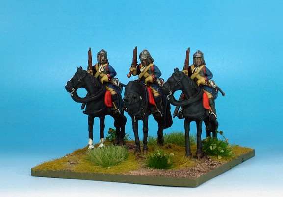WLOA35a Cuirassier troopers; English helmet; standing horses