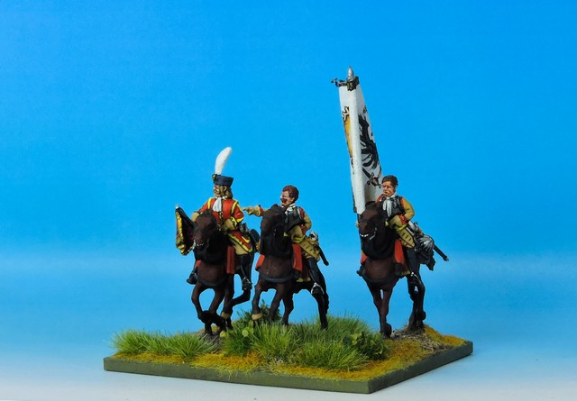 WLOA46b Cuirassier Command bare headed on galloping horses