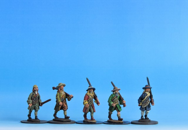 V01 Militia/Rebel musketeers in coat advancing