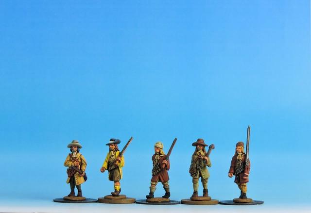 V02 Militia/Rebel musketeers in waistcoat advancing